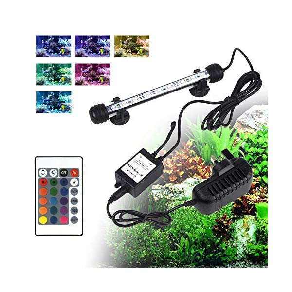 shinngo Aquarium Light RGB Remote Colour Changing LED Fish Tank Light Underwater Submersible Crystal Glass Lighting (11…