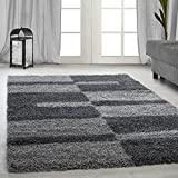 High pile Shaggy carpets striped beige, green, gray, light gray, purple, red, turquoise, taupe, terra living room carpets with 3 cm pile height 2505, Color:grey, Size:140x200 cm