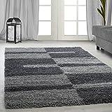 Hochflor Shaggy Teppich für Wohnzimmer Langflor Pflegeleicht Schadsstof geprüft Teppiche Streifen Oeko Tex Standarts, Farbe:Grau, Maße:200x290 cm