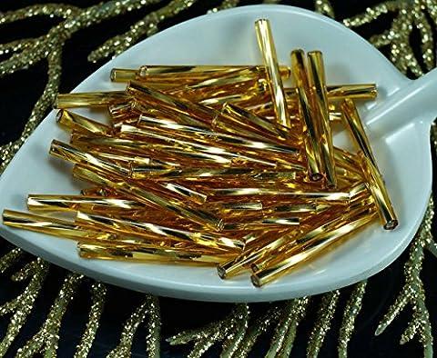 64pcs x 25 mm Extra Lang Gold Silber Ausgekleidet Twisted Runde Tschechische Glas stiftperlen PRECIOSA Rohre