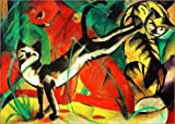 Posterlounge Leinwandbild 130 x 90 cm: DREI Katzen von Franz Marc - fertiges Wandbild, Bild auf Keilrahmen, Fertigbild auf echter Leinwand, Leinwanddruck