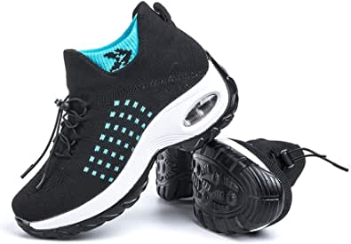 Scarpe Ginnastica Donna Sneakers Running Camminata Corsa Basse Tennis Air Traspiranti Sportive Gym Fitness Casual Comode Nero Blu Rosa Cachi Bianca Taglia 35-44