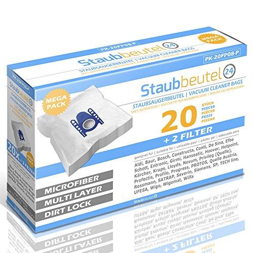 XXL-Pack - 20 Premium Staubsaugerbeutel geeignet Für Rossmann R 020 / R020, SATRAP SA 16+ , SA19+