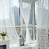 Hukz Doppelter Spitzenvorhang,Floral schiere Vorhang Tüll Fenster Behandlung Voile Drape Valance 1 Panel Stoff(L x W: 180cm x 145cm) (weiß)