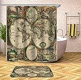 Portes de douche 1 PC Carte du Monde Antique Imprimer Imperméable Rideau De Douche Rétro Polyester Rideau De Salle De Bains (Taille : 180 * 180cm)