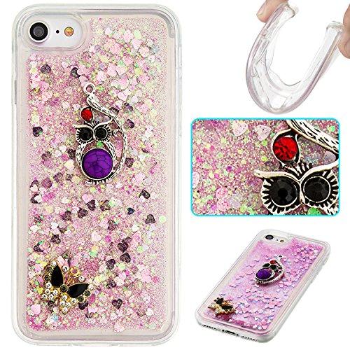 """MOONCASE iPhone 7 Coque, Glitter Sparkle Bling [Angel] Faux Diamant Dessin Motif Liquide Étui Coque pour iPhone 7 4.7"""" Soft TPU Gel Souple Case Housse de Protection Or 03 Rose 04"""