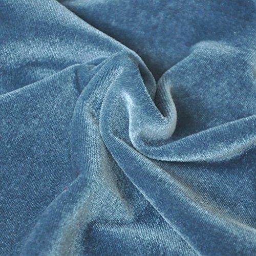 Honghu Damen Schlank Schleuder Mini Wickelkleid Blau