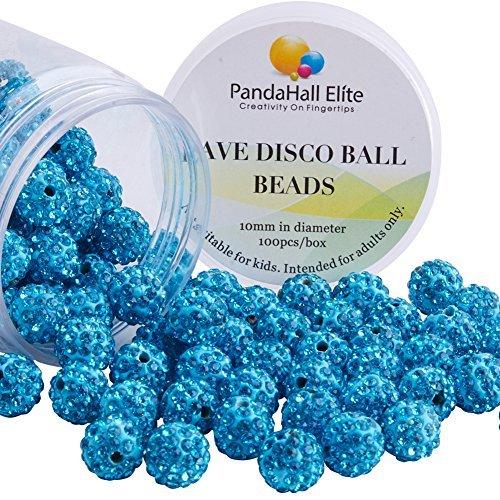 pandahall Elite 10 mm Blau Light Siam Crystal Loose Spacer Pave Disco Perlen