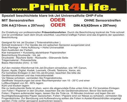 Preisvergleich Produktbild 25 Blatt DIN A3 OHP Overheadprojektor Folie Transparente für Tintenstrahldrucker Inkjet. Eine speziell beschichtete Ink Jet Universalfolie zur Erstellung von professionellen Präsentationsfolien.