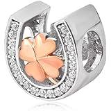Ciondolo a forma di ferro di cavallo, charm portafortuna in amore, in argento Sterling 925, colore oro rosa, per braccialetti