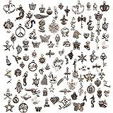 100 abalorios para bisutería, manualidades, plata tibetana, colgantes mixtos DIY para pendientes, collares, pulseras, fiestas y regalos de boda
