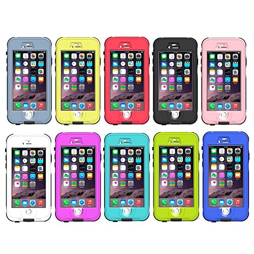 Phone case & Hülle Für IPhone 6 / 6S, ABS Material wasserdichter Schutzhülle mit Knopf u. Fingerabdruck Unlock & Touch Screen Funktion ( Color : Yellow ) White