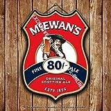 mcewan' S Ende (Bello) Bier Bier Werbung Bar alten Pub Getränke Pumpe Abzeichen Brewery Fass Keg Draught Real Ale Pint Alkohol Hopfen Form Metall/Wandschild aus Stahl 27 x 20 cm