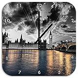 wunderschöne Westminster Abbey mit Big Ben schwarz/weiß, Wanduhr Quadratisch Durchmesser 48cm mit schwarzen spitzen Zeigern und Ziffernblatt, Dekoartikel, Designuhr, Aluverbund sehr schön für Wohnzimmer, Kinderzimmer, Arbeitszimmer