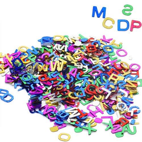 perfeclan 200x Mischfarben Konfetti Streudeko Streuartikel Tischdeko mit Buchstaben Design, aus Pailletten