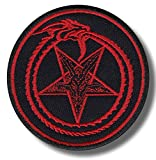 Ouroborus, pentagram – bestickt Patch, 8 x 8 cm.