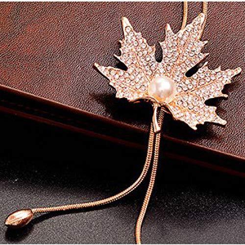 Wwf dolce versatile imitazione perla strass collana foglia d'acero goccia d'acqua nappa pendente serpente osso accessori catena maglione,oro,76 centimetri