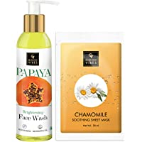 Good Vibes Skin Care Combo - Papaya Brightening Face Wash (120 ml) and Chamomile Soothing Sheet Mask (20 ml)