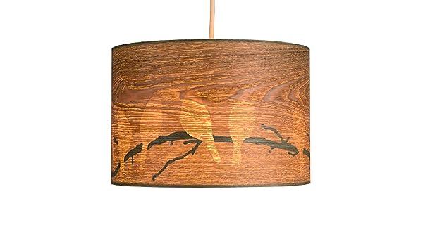 Plafoniere Minisun : Minisun paralume moderno di impiallacciato legno con un uccello
