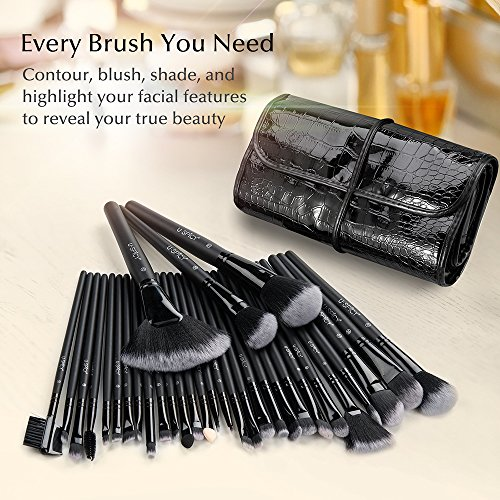 Make Up Brushes, USpicy Makeup Brushes Cosmetics Professional Essential 32-Piece Make Up Brush Set Kits with Travel Pouch