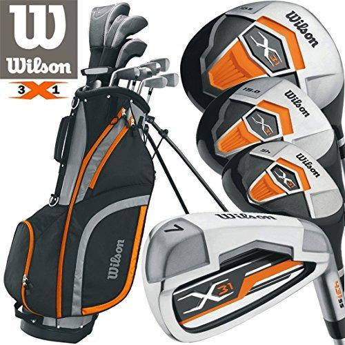 Wilson Herren LINKE HAND X31 Golf Set Neu FÜR 2017 Stahl Mit schaft Eisen & Graphit mit Schaft Hölzer Gratis Regenschirm & Society Abschlag-Pack worh