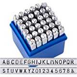 BENECREAT 36 Pack Letter And Number Stamp Set, Metal Punch Stamp Stamping Tool Case Electroplated Hard Carbon Steel Tools To