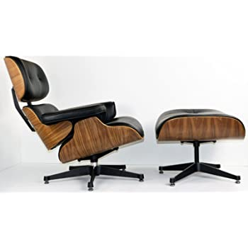 Charles Eames Inspir Chaise Longue Cuir Noir Noyer Avec Ottoman
