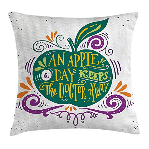 Quotes Throw Pillow Cushion Cover, Inspirational Artsy Apple Print for Motivation Clean Eating Diet Fresh and Healthy, Decorative Square Accent Pillow Case, 18 X 18 Inches, Green Purple