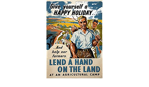 LEND A HAND ON THE LAND British WW2 Propaganda Poster 250gsm A3