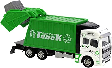 TOYMYTOY Kid's Alloy and ABS Garbage Pull Back Trash Truck Toy (Green, 2666119-6508-1120278701)