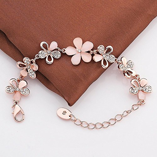Shining Diva Fashion Jewellery Rose Gold Crystal Charm Bracelet Gifts for Girls and Women