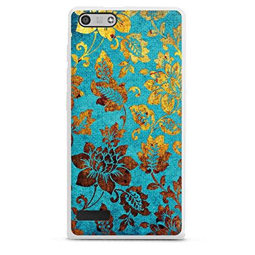 DeinDesign Huawei Ascend P7 mini Hülle Silikon Case Schutz Cover Blumen Muster Gold