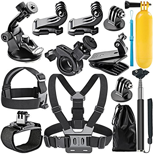 Neewer 12-in-1 Accessori Kit di Action Cam per GoPro Hero 4/5 Session, Hero 1/2/3/3+/4/5, SJ4000/5000, Xiaomi Yi, DV Sportiva di Nikon/Sony in nuoto, canottaggio, arrampicata, ciclismo, campeggio e altri