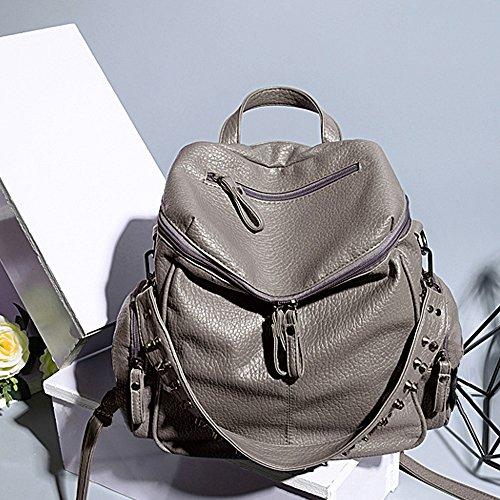 47535e0390f7 UTO Women Backpack Purse 3 ways PU Washed Leather Rivet Studded ...