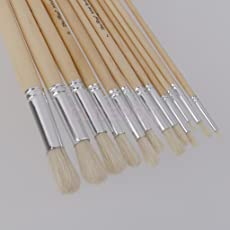 ELECTROPRIME Set of 12pcs Assorted Size Round Tip Hogs Bristle Hair Wooden Paint Brushes