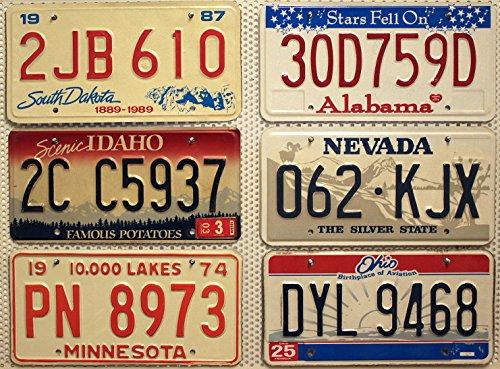 6 Kennzeichen SET / LOT # US Nummernschilder SOUTH DAKOTA + ALABAMA + NEVADA + IDAHO + OHIO + MINNESOTA Blechschilder # USA Auto - Schilder