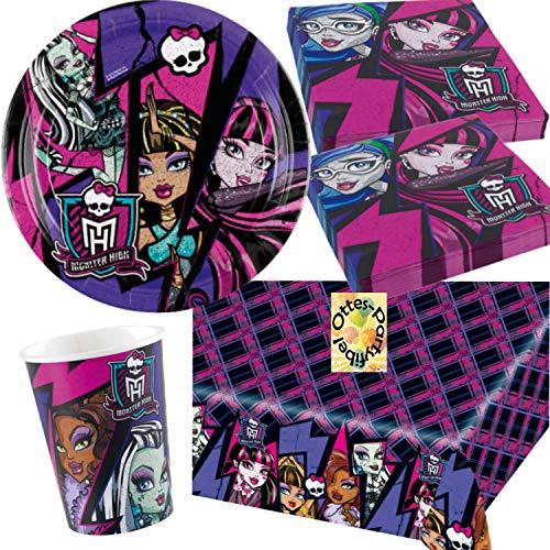 (Monster High Partyset 37tlg. Teller Becher Servietten Tischdecke für 8 Gäste)