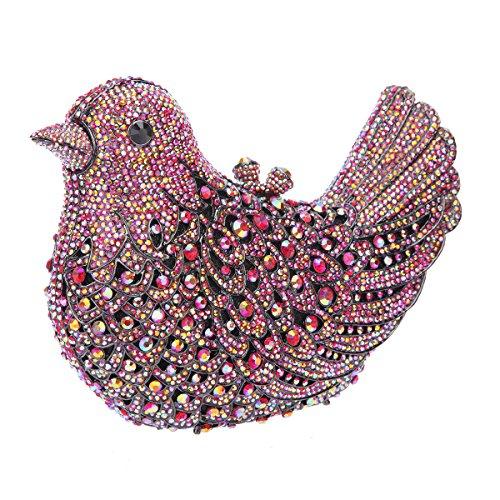Bonjanvye Glitter Rhinestone Bird Clutch Purses Evening Clutch Bag for Girls Orange colorful red