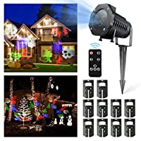 LED Christmas Light,CAMTOA HD Christmas LED Projector/10 Slides Multi Dynamic Lighting Landscape Led Projector/Christmas Garden Light/House Light/Christmas Lamp/Path Light/Fairy Hanging Light/Lantern-IP44 Waterproof,Remote Control,Cold Resistance,For Christmas,Halloween,Decoration,Garden,Parties,Wed