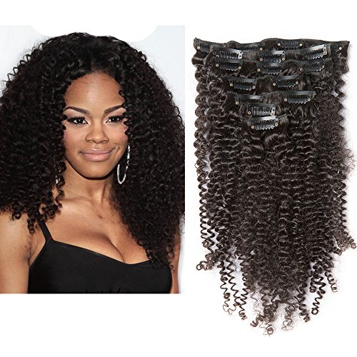 Mila 18inch/45cm capelli umani clip in extensions kinky curly ricci africani 7pezzi brazilian virgin hair 100% remy naturale nero 120gram