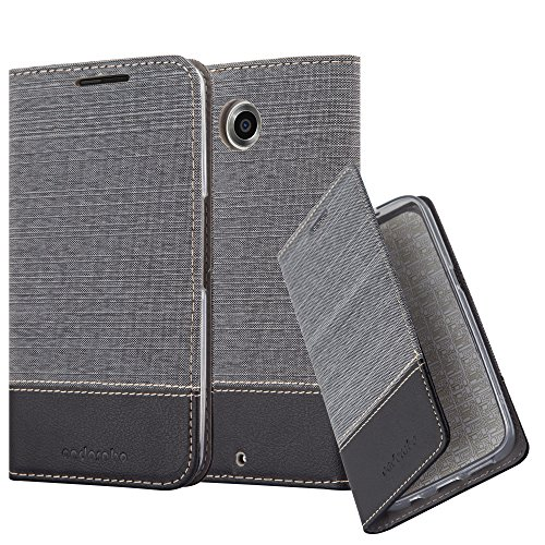 Cadorabo Hülle für Lenovo Google Nexus 6 / 6X - Hülle in GRAU SCHWARZ – Handyhülle mit Standfunktion und Kartenfach im Stoff Design - Case Cover Schutzhülle Etui Tasche Book