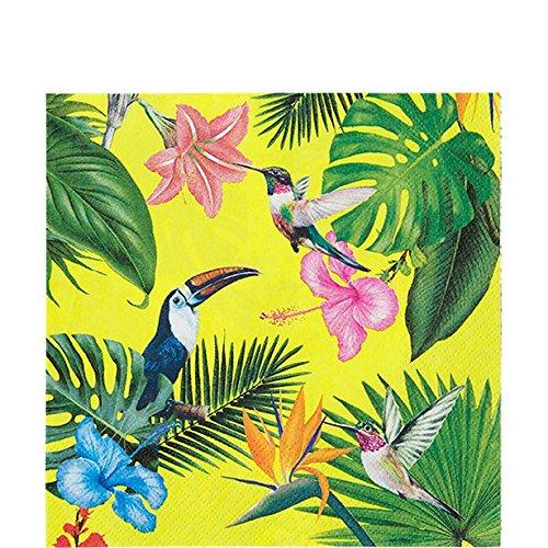 erdbeerparty Tisch Dekoration Servietten Blumenmuster Tukan Colibri Sommerparty, 20 Stück, 33x33cm, Mehrfarbig