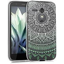 kwmobile Funda para Moto G (2013) Motorola - Case de cristal para móvil en TPU silicona - Cover trasero de cristal Diseño sol indio menta blanco transparente
