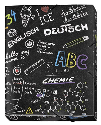 melbox School, DIN A4, mit Gummizug, Heft-Box, aus PP, Motiv Kreide-Tafel, Schulfächer ()