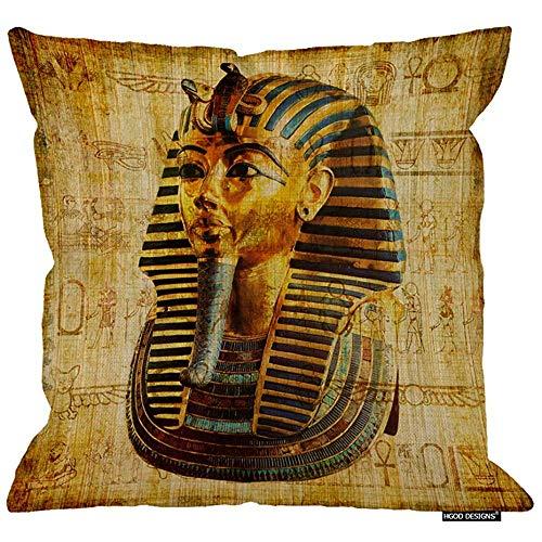 Funda de almohada egipcia de 2Pcs 18X18 pulgadas, papiro egipcio vintage con diseño de arte faraón...