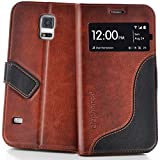 elephones Handyhülle Samsung Galaxy S5 / S5 Neo Hülle Schutzhülle Handytasche Case Cover Braun mit Stand Kartenfach
