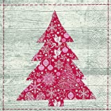 Cocktail Servietten Serviett 25x25 cm (Red tree) Rot Baum Weihnachtsbaum Weihnachten Winter Schnee Tiere Wald Schneemann Merry Christmas