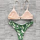 Honestyi Sexy Frauen Druckverband gepolsterter BH Strand Halfter Bikini Set Swimwer S/M/L Split Blatt Print Bikini Frauen europäische und amerikanische Badebekleidung S/M/L(Rosa,M)