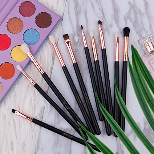 Docolor 10Pcs Eye Brushes Set Makeup Brush Eyeshadow Brushes Kit with Box (Rose Gold)