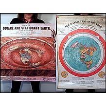 Flat Earth 2 Poster Prints - Gleasons New Standard Map of the World 1892 + O. Ferguson Square & Stationary Earth 1893-40x30 inch (101x76 cm) PVC Weatherproof Tarpaulin